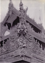 Carving in eaves of Queen's Monastery, [Mandalay]